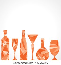 Abstract triangle wine bottles and glass,vector illustration