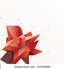 Abstract triangles space low poly. White background with connecting dots and lines. Light connection structure. Polygonal vector background. Futuristic HUD.Red illustration.