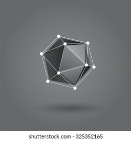 Abstract triangles space low poly. White background with connecting dots and lines. Light connection structure. Polygonal vector background. Futuristic HUD.Abstract Vector Logo Design Template.