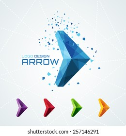 Abstract triangular arrow logo or sign or symbol. Vector illustration