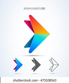 Abstract triangular arrow vector logo symbol. Vector illustration. Success business