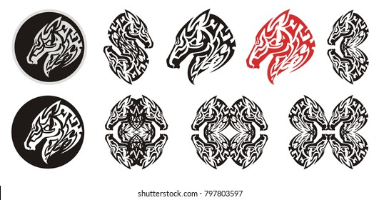 Abstract tribal horse head symbols. Ornate set of stylized symbols of the horse head in a circle and double on a white background for your design