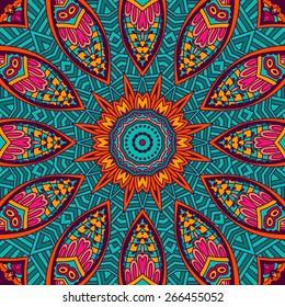 Abstract Tribal vintage ethnic sun seamless pattern ornamental