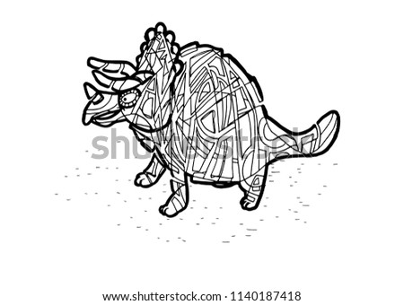 Abstract Triceratops Coloring Page Stock Vector Royalty Free