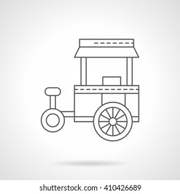 Abstract tricycle cart for street trade. Wheel shop. Mobile kiosk Fast food trolley. Single flat thin line style vector icon