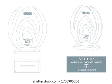 Abstract Trophy Vector Template, Business Trophy Distinction Award, Employee Recognition Trophy Award