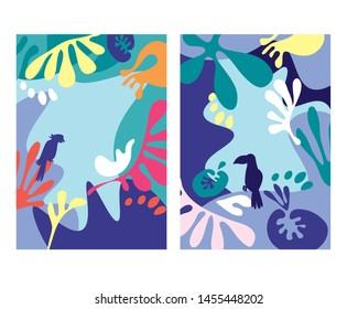 Abstract tropical background designs with bird and leaves. Jungle inspired  fluid shapes for card, header, invitation, poster, social media, post publication. Summer sale promotional content.