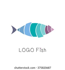 Abstract tropical fish, logo design template, emblem, label, badge, icon isolated. Colorful logotype. For restaurants and cafe with seafood. Sign fishing, diving, fish shop and swimmingpool concept.