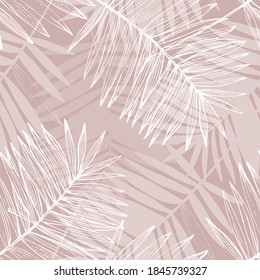 Abstract tropical foliage background in pink rose blush colors. Palm leaves line art seamless pattern. Creative tropics illustration for swimwear design, wallpaper, textile. Vector art