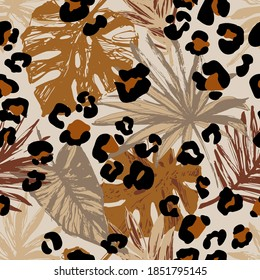 Abstract tropical leaves, grunge leopard camouflage spots background. Trendy seamless pattern palm leaves, animal skin print in natural brown colors. Vector art for surface design, fabric, wallpaper - Shutterstock ID 1851795145