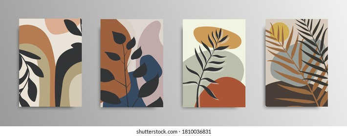 Abstract tropical leaves poster covers. Vector abstract background. Tropical flower fashion pattern. Palm, exotic leaves. Stock vector. EPS 10