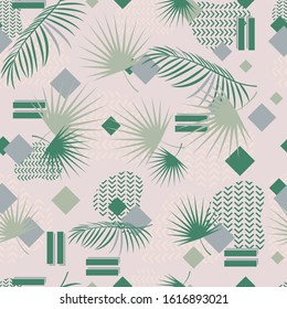 Abstract tropical palm leaves seamless pattern. Textural background of green leaves. Wallpaper, wrapping paper, repeat print.