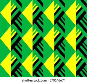 Abstract tropical pattern background with stylized geometric weed foliage. Seamless vector texture, vibrant colors from Jamaica flag: green, yellow and black.