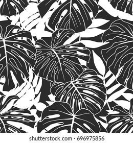 Abstract tropical plant seamless pattern