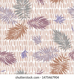 Abstract tropical plants pattern. Hand drawn fantasy exotic sprigs with weaving texture. Seamless floral illustration made of herbal foliage leaves with short lines background.