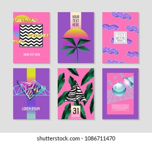 Abstract Tropical Poster Templates Set with Palm Leaves and Geometric Elements. Hipster Fashion 80s-90s Memphis Style Brochure Banners Flyer. Vector illustration