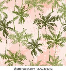 Abstract tropics seamless pattern. Grunge palm trees silhouettes transparent texture background. Jungle vector art. Hand drawn exotic illustration for summer design, beach swimwear fabric, wallpaper