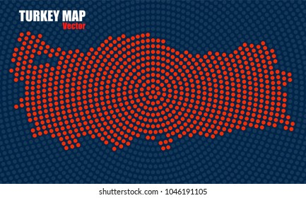 Abstract Turkey map of radial dots, halftone concept. Vector illustration, eps 10