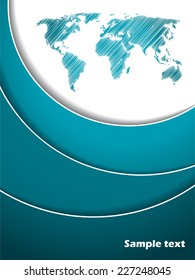 Abstract turquoise and white brochure cover design
