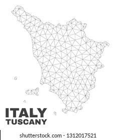 Abstract Tuscany region map isolated on a white background. Triangular mesh model in black color of Tuscany region map. Polygonal geographic scheme designed for political illustrations.