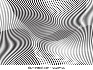 Abstract twisted background. Lines of variable thickness. Halftone effect line pattern.  Grunge modern pop art texture for poster, banner, business cards, cover, postcard, design, labels, stickers