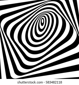 Abstract twisted black and white background. Optical illusion of distorted surface. Twister stripes. Stylized 3d tunnel. Vector illustration.