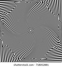 Abstract twisted black and white background. Optical illusion of distorted surface. Twisted stripes. Stylized 3d tunnel. Vector illustration.