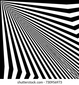 abstract twisted black and white background optical illusion of distorted perspective surface twisted stripes
