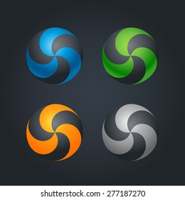 Abstract Twisted spheres logo design templates on dark background. Design elements and Corporate branding identity. Different colors