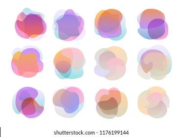 conjunto de formas universales con degradado ondulado y degradado de color trenzado abstracto