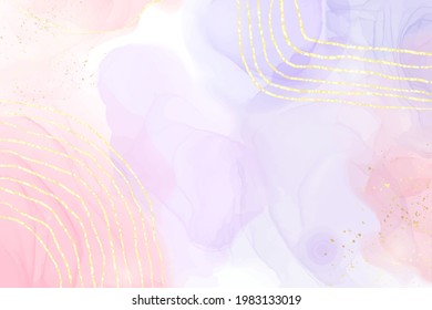 Abstract two colored rose and lavender liquid marble background with gold stripes and glitter dust. Pastel pink violet watercolor drawing effect. Vector illustration backdrop with gold splatter.