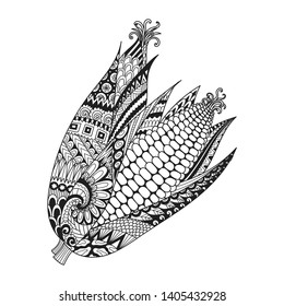 Abstract two corns for print on stuffs, adult coloring book,coloring page,engraving,logo,tattoo and other design element. Vector illustration
