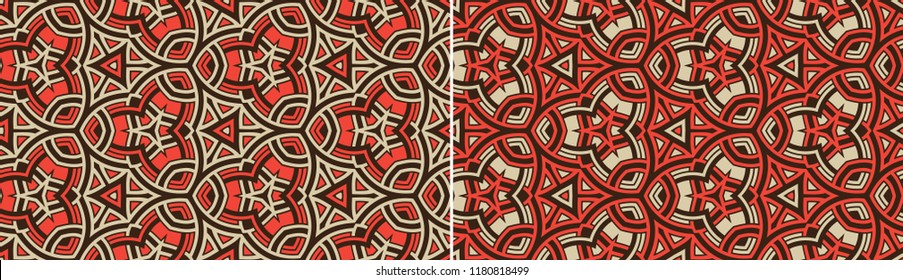 Abstract two seamless patterns with trendy ornament of red, gray, and black shades