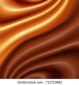 Abstract two-tone background. Waves of caramel and chocolate. Vector Illustration.
