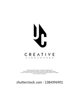 abstract UC logo letter in shadow shape design concept