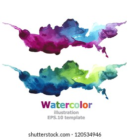 Abstract Ultraviolet and Blue stripe paint : illustration watercolors EPS.10 vector
