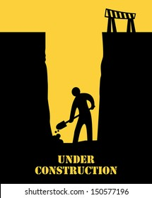 Abstract under construction background, vector illustration