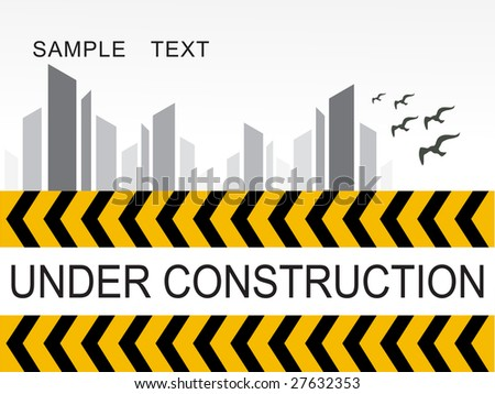 Abstract Under Construction Road Sign Background Vector De