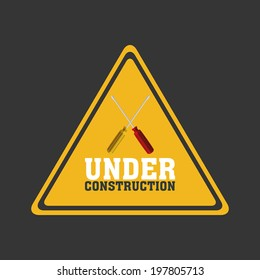 abstract under construction signal on a gray background