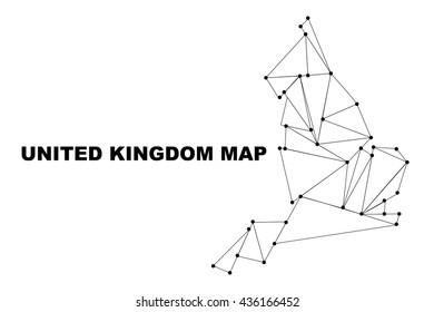 Abstract United Kingdom map lines connection. Vector illustration