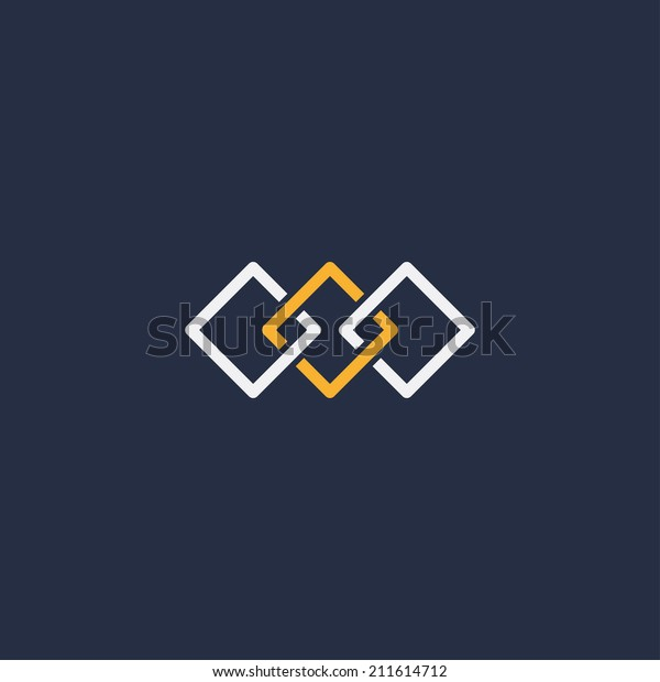 abstract unity symbol of three squares. template logo design. vector eps8