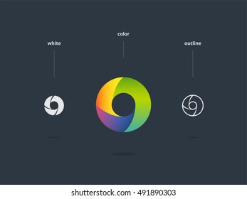 Abstract universal colorful logo design. Circle icon
