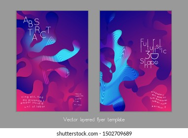 Abstract universal flyer templates with simple wavy shapes and cut out paper with shadow over striped background. Social media web banner. Bright colored isolated.