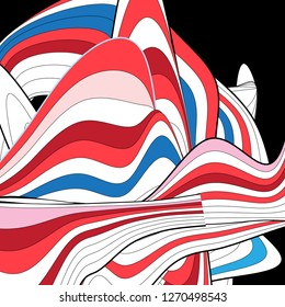 Abstract unusual vector multicolored background with different lines and waves on dark