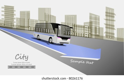Abstract urban background with city bus on blue arrow. Vector