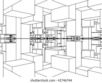 Abstract Urban City Boxes From Cube Vector 16
