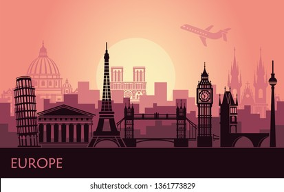 Abstract urban landscape with the sights of Europe at sunset
