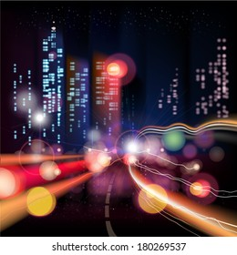 Abstract urban night landscape with parts of buildings,lights cars,city,metropolis. Vector background. Effect blur, bokeh, light point, color flows. The world of light and color. handiwork.