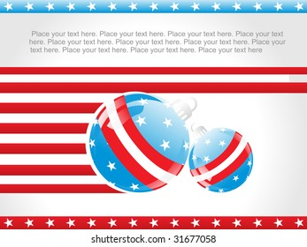 abstract us background with decorated ball and stars