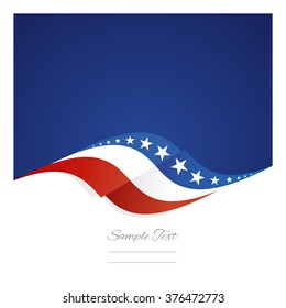 Abstract US flag ribbon blue background